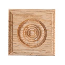 908 red oak rosette corner block 1 1 16 x 2 3 4 x 2 3 4