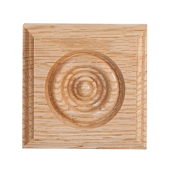 "#909 Red Oak Rosette Corner Block 1-1/16"" x 3"" x 3"""
